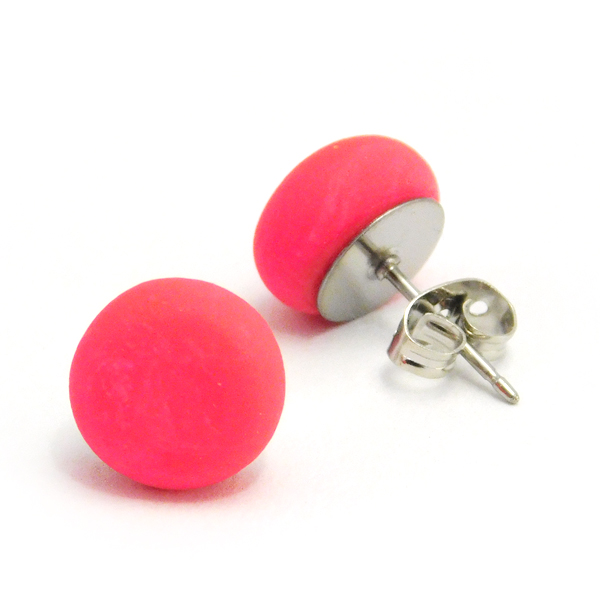 Hot Pink Polymer Stud Earrings