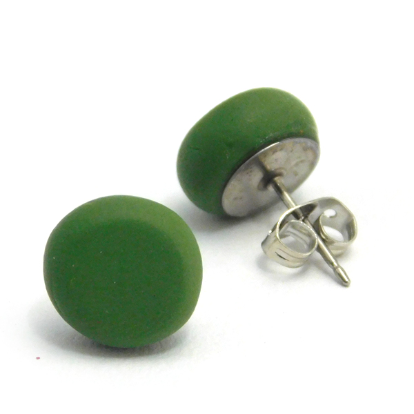 Leaf Green Polymer Stud Earrings