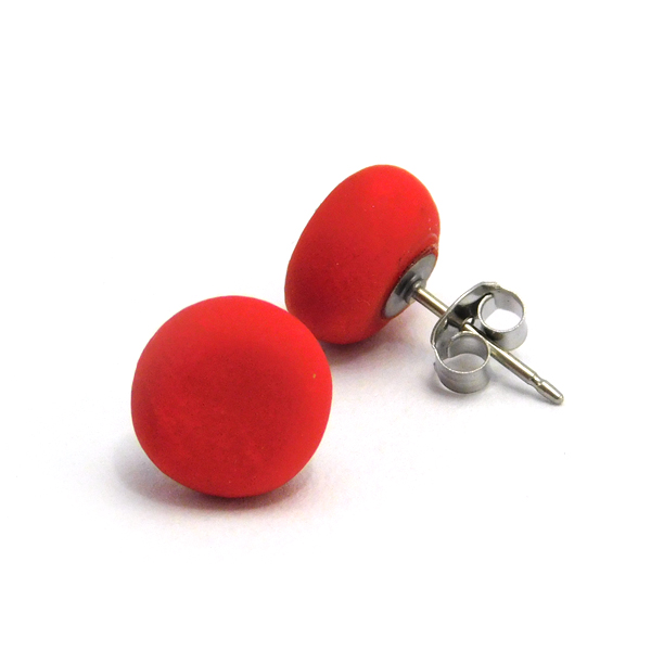 Red Hot Red Polymer Stud Earrings
