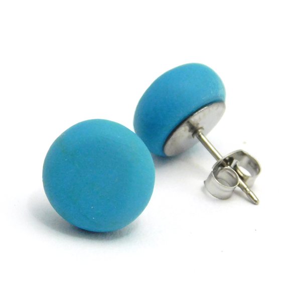 Turquoise Blue Polymer Stud Earrings
