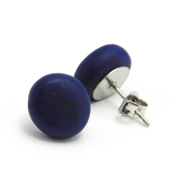 Navy Blue Polymer Stud Earrings