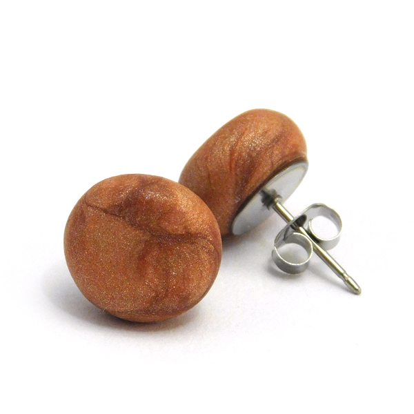 Metallic Copper Polymer Stud Earrings