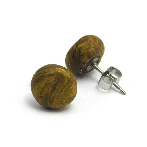 Metallic Antique Gold Polymer Stud Earrings