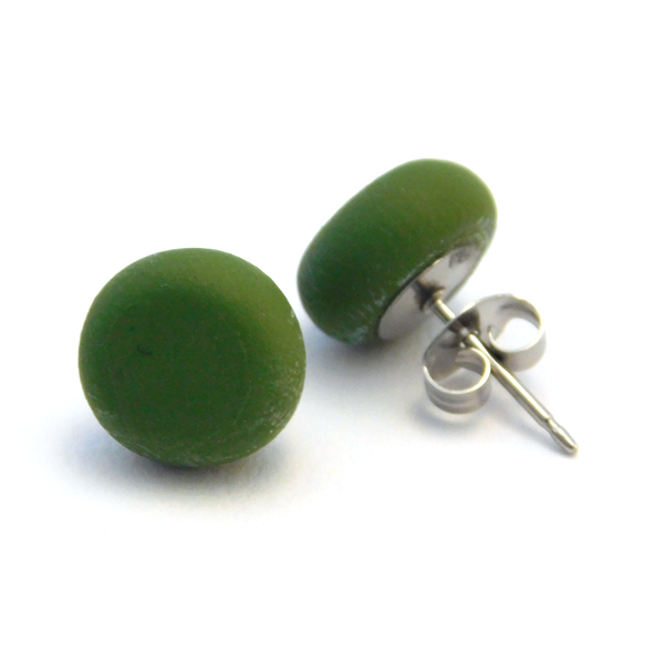 Spanish Olive Polymer Stud Earrings