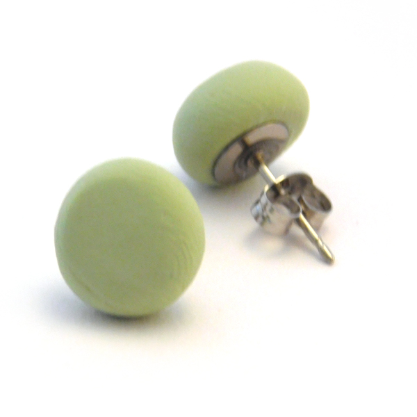 Sage Green Polymer Stud Earrings
