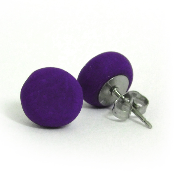 Purple Polymer Stud Earrings