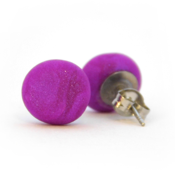Violet (Pearl) Polymer Stud Earrings