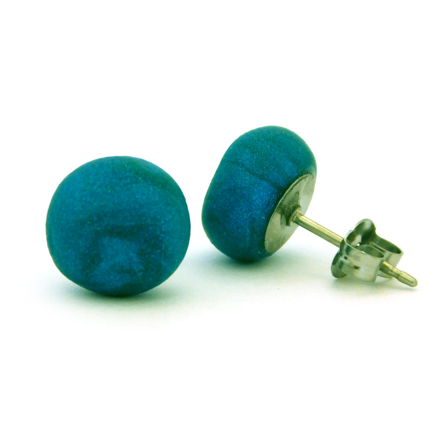 Peacock Blue (Pearl) Polymer Stud Earrings