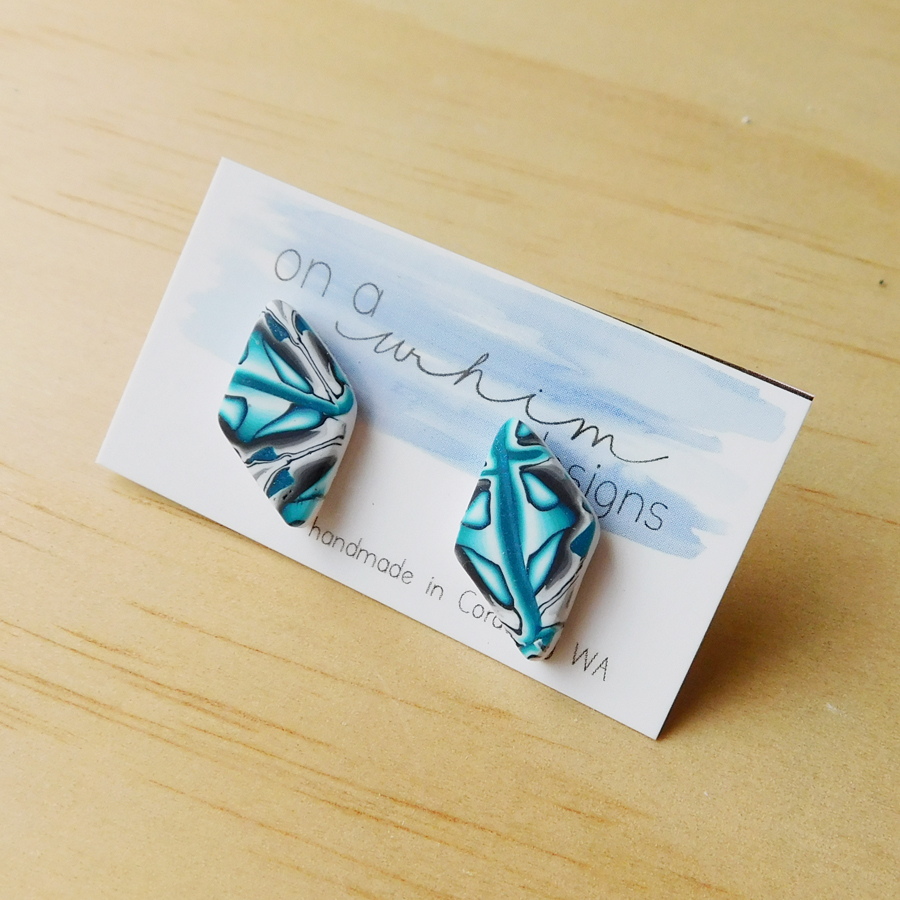 Diamond Studs - Teal Brocade
