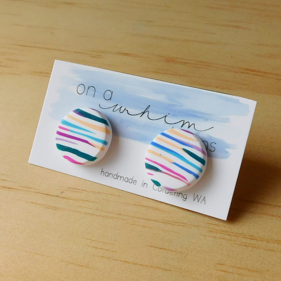Round Studs - Bright Stripes