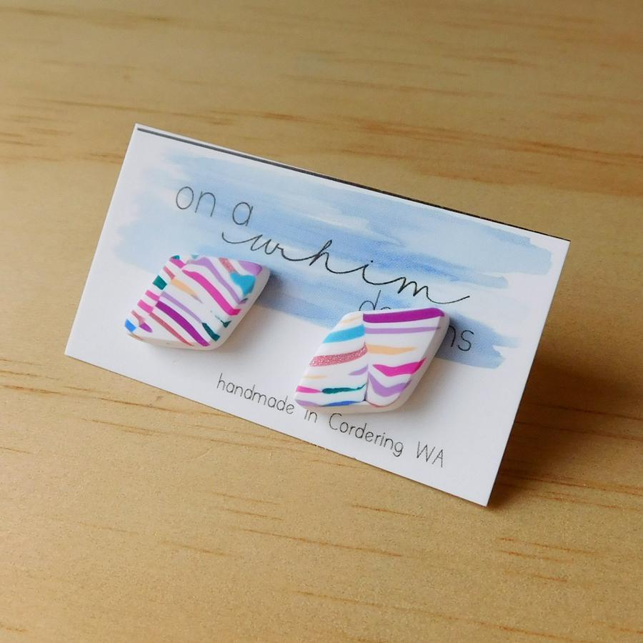 Diamond Studs - Bright Stripes