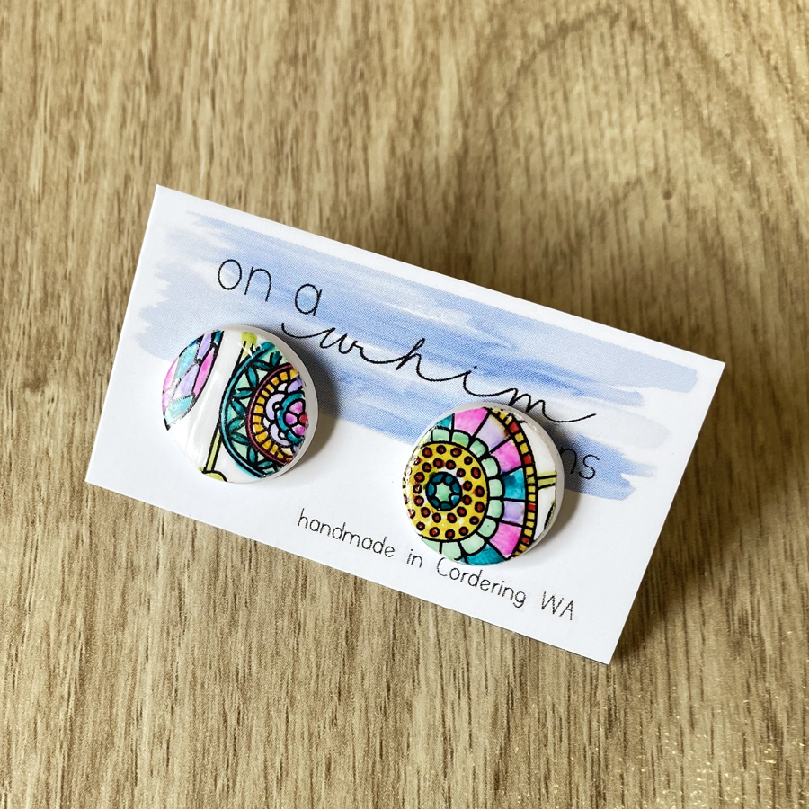 Round Studs - Floral Whimsy