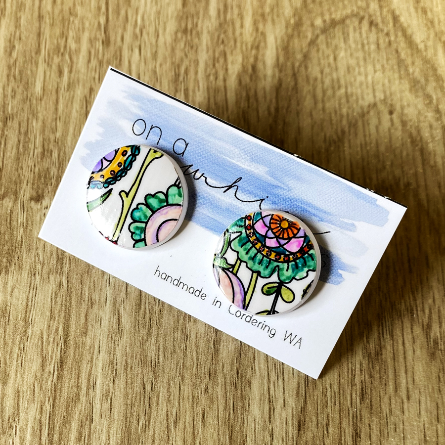 Round Studs - Floral Whimsy (Large)