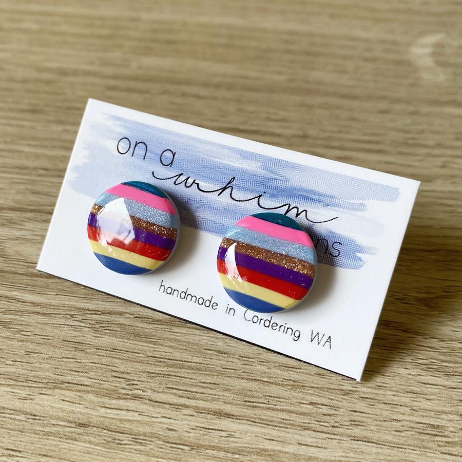 Round Studs - Glossy Stripes (Plain)