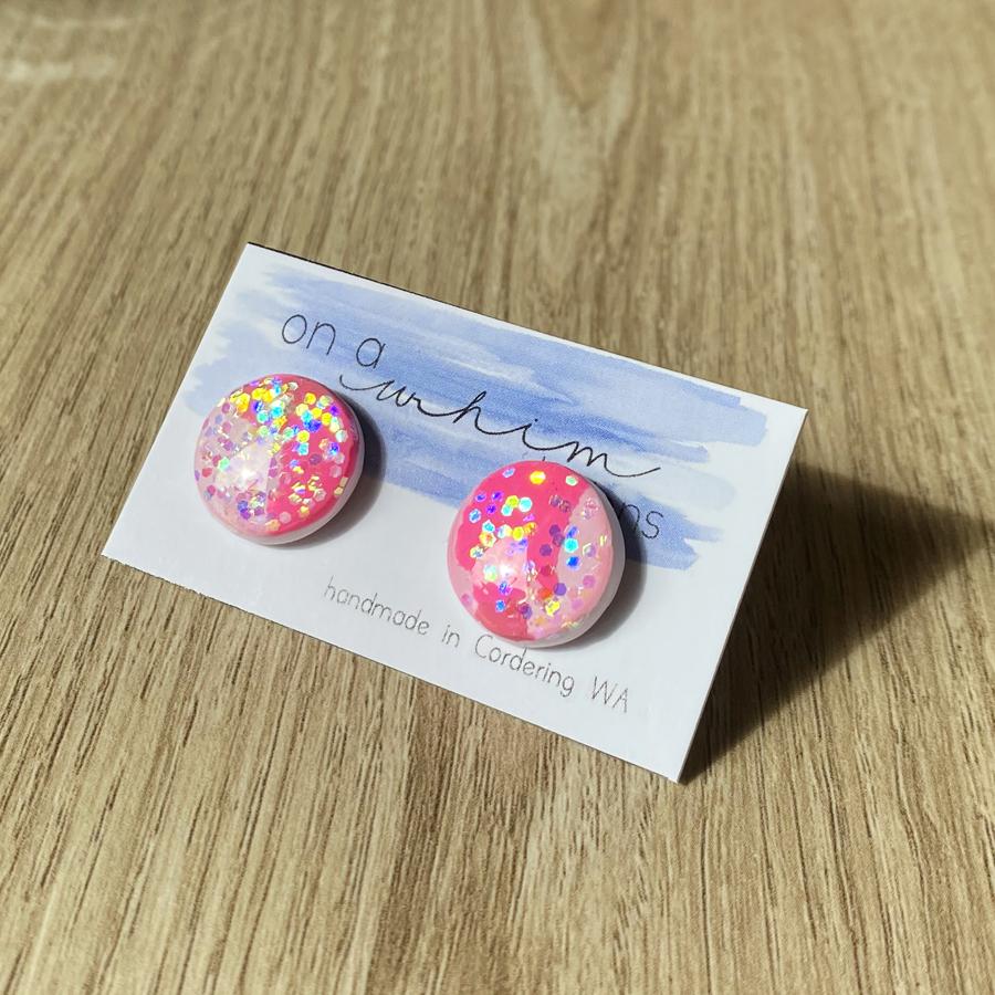 Round Studs - Glitter Pink